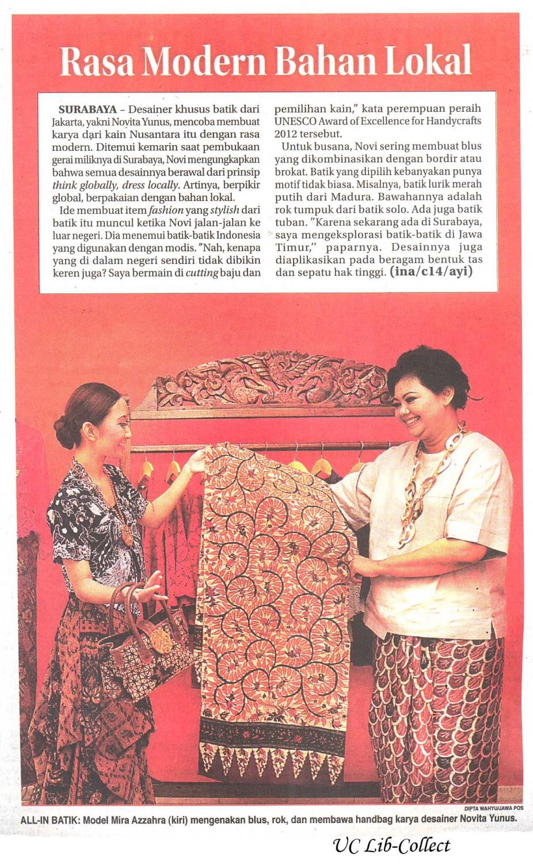 Rasa Modern Bahan Lokal. Jawa Pos 23 Januari 2014.Hal.40