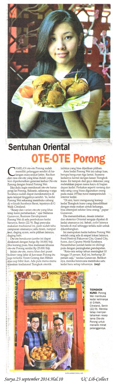 Sentuhan Oriental Ote-Ote Porong.Surya.23 september 2014.Hal.10