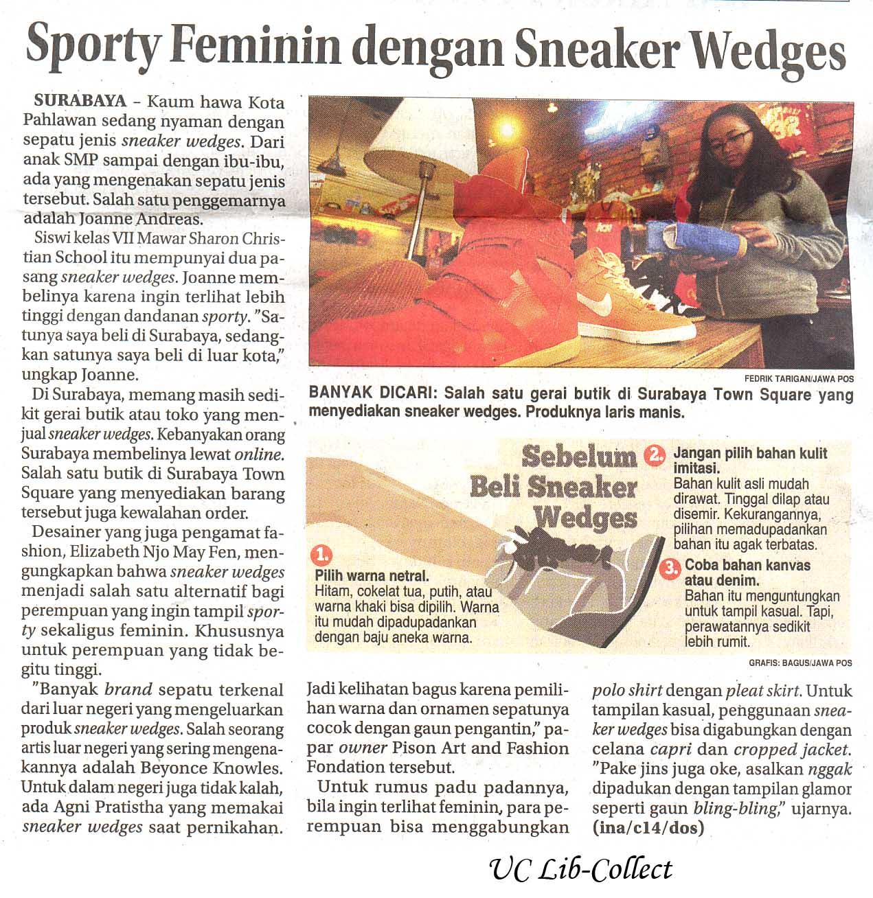 Sporty Feminim dengan Sneaker Wedges.Jawa Pos 5 Januari 2014.Hal.40