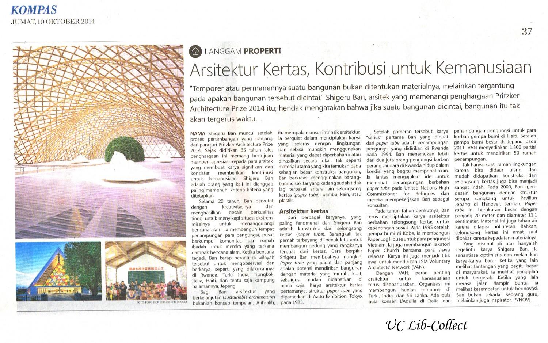 Arsitektur Kertas, Kontribusi untuk Kemanusiaan. Kompas. 10 Oktober 2014.Hal.37