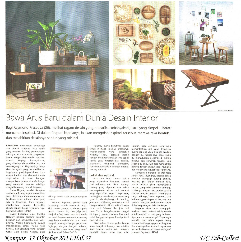 Bawa Arus Baru Dalam Dunia Desain Interior. Kompas. 17 Oktober 2014.Hal.37