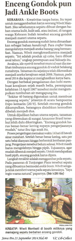 Enceng Gondokpun Jadi Ankle Boots. Jawa Pos.21 September 2014.Hal.40