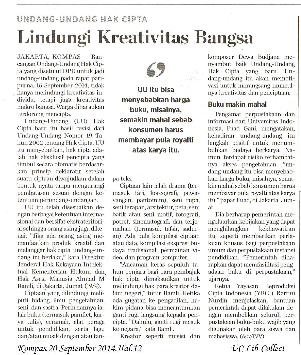 Lindungi Kreativitas Bangsa.Kompas.20 September 2014.Hal.12