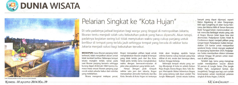 Pelarian Singkat ke Kota Hujan.Kompas. 18 agustus 2014.Hal.39