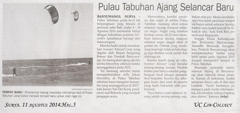 Pulau Tabuhan Ajang Selancar Baru.Surya.11 Agustus 2014.Hal.5