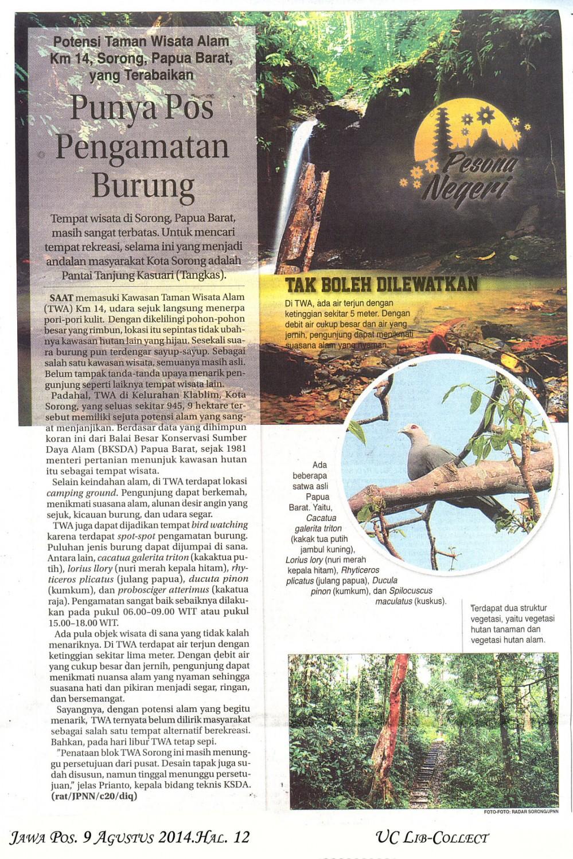 Punya Pos Pengamatan Burung.Jawa Pos. 9 Agustus 2014.Hal.12