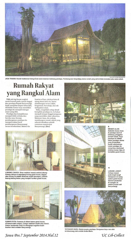 Rumah Rakyat yang Rangkul Alam. Jawa Pos.7 September 2014.Hal.12