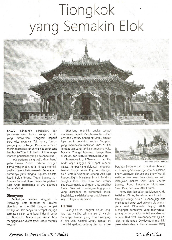 Tiongkok Semakin Elok. Kompas. 13 November 2014.Hal.34