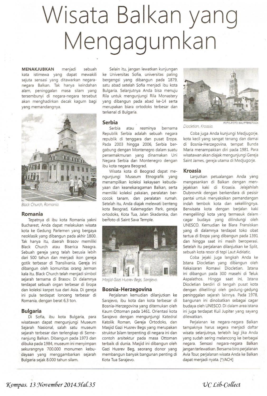 Wisata Balkan yang Mengagumkan. Kompas. 13 November 2014.Hal.35