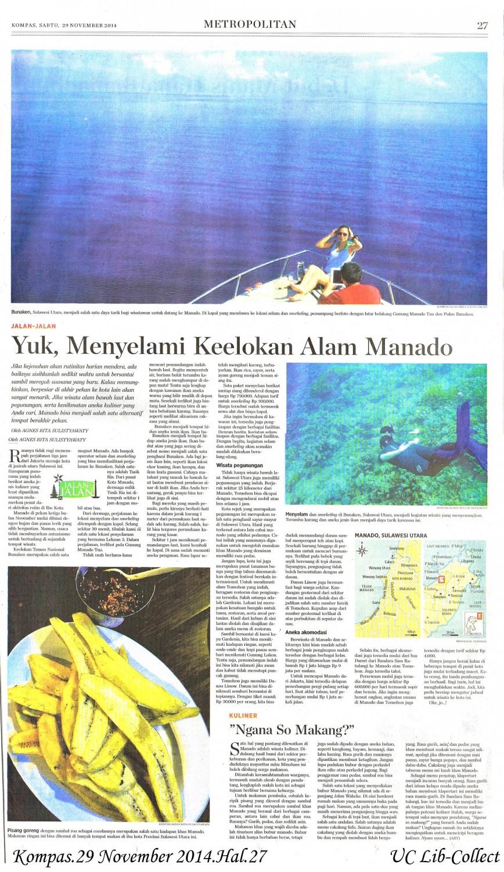 Yuk, Menyelami Keelokan Alam Manado. Kompas.29 November 2014.Hal.27