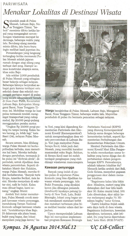 menakar Lokalitas di Destinasi Wisata. Kompas. 26 Agustus 2014.Hal.12