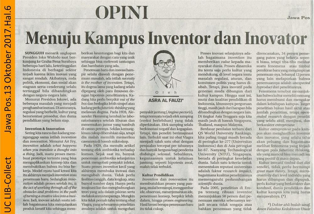 Menuju Kampus Inventor dan Inovator. Jawa Pos.13 Oktober 2017.Hal.6