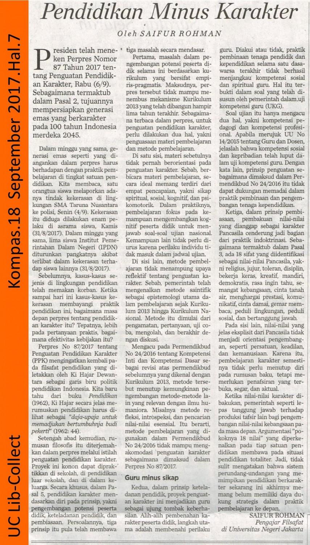Pendidikan Minus Karakter. Kompas. 18 September 2017. Hal.7 001-page-001