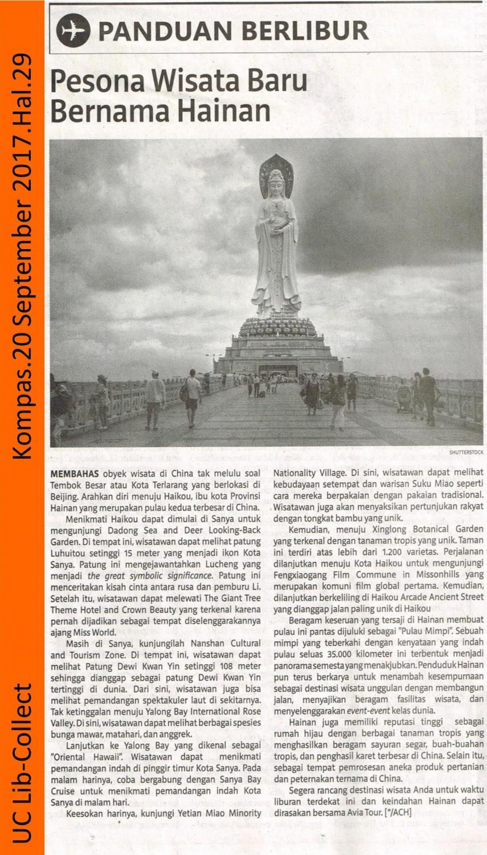 Pesona Wisata Baru Bernama Hainan. Kompas. 20 September 2017. Hal.29 001-page-001