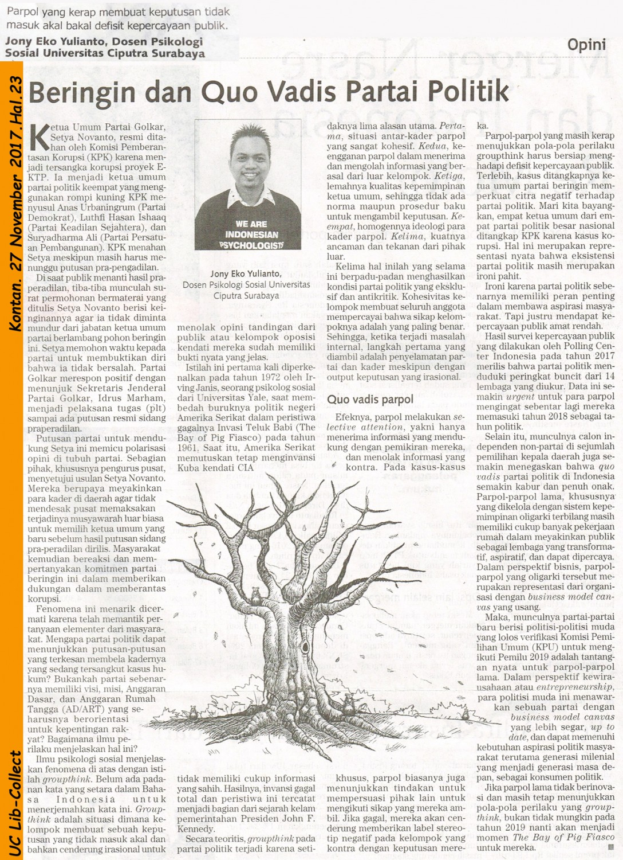 Beringin dan Quo Vadis Partai Politik. Kontan.27 November 2017.Hal.23_Jony Eko Yulianto