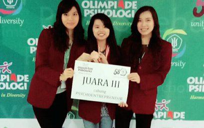 Juara 3 Olimpiade Psikologi ke-4 (2017) cabang PsychoEntrepreneur yang diselenggarakan oleh HIMPSI Jawa Timur