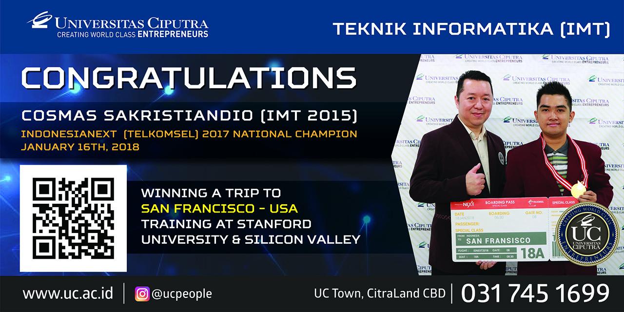Congratulation Cosmas Sakristiandio (IMT 2015)