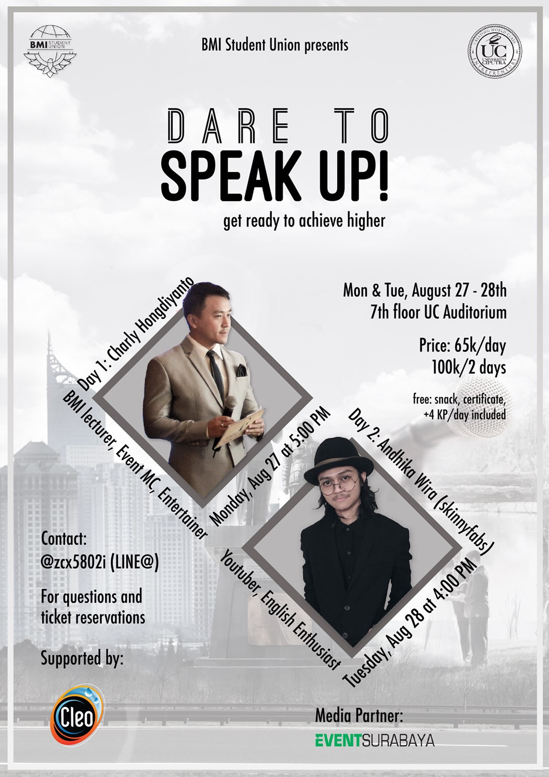 Dare To Speak Up!  Get Ready to Achieve Higher (BMI Student Union)