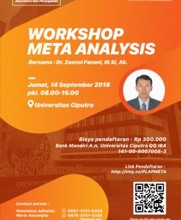 """Workshop Meta Analysis"" Speaker : Dr. Zaenal Fanani, M.Si, Ak."
