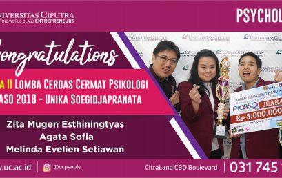 Congratulations – Juara 2 Lomba Cerdas Cermat Psikologi PICASO 2018