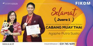 Agaphe Putra Susilo – Mahasiswa FIKOM menjadi Juara I Pekan Olahraga Provinsi Jawa Tengah Cabang Muay Thai